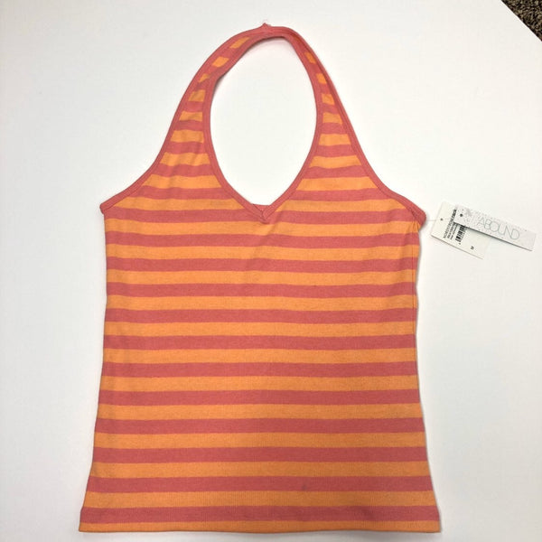 Abound Pink Geranium Orange Striped Halter Top