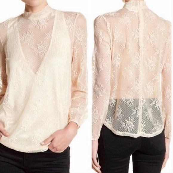 Line & Dot Cedar Lace Top Cream