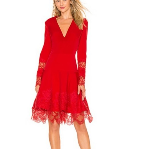 Bronx & Banco Red V Neck Antonia Dress