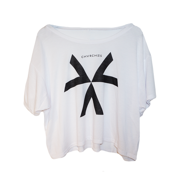 White Logo Crop Top