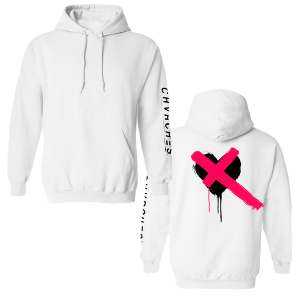 Painted White Heart Pullover Hoodie