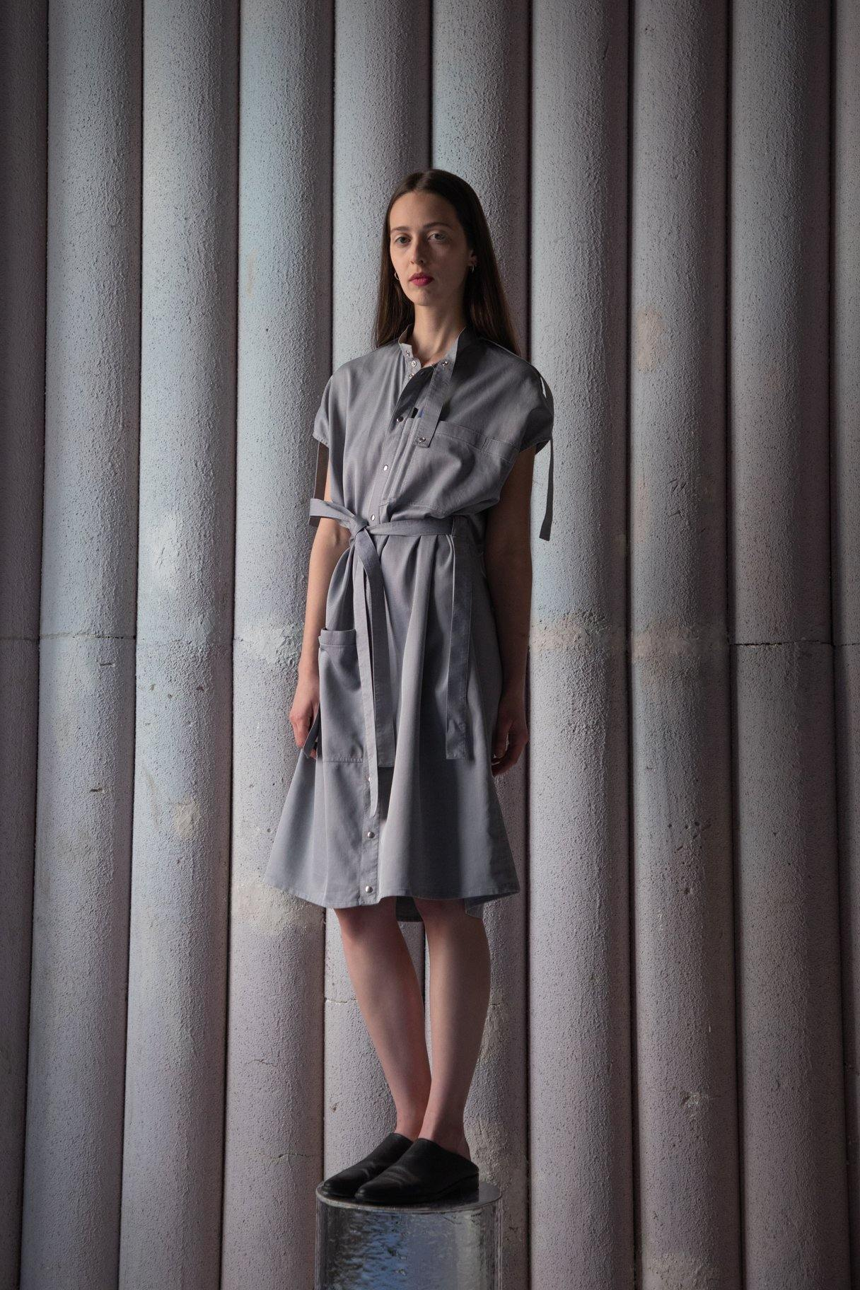 LABORATORY SHIRT DRESS - SILVER GREY