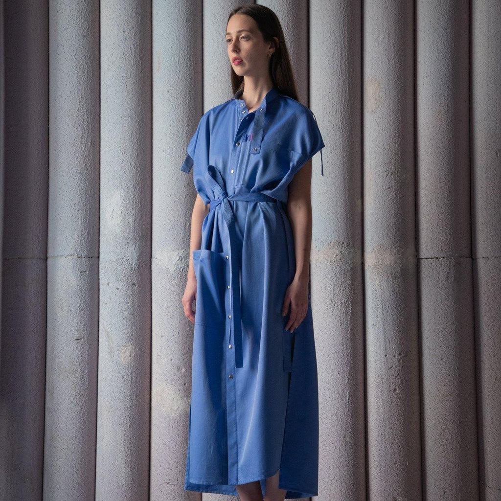 LABORATORY LONG SHIRT DRESS - SKY BLUE