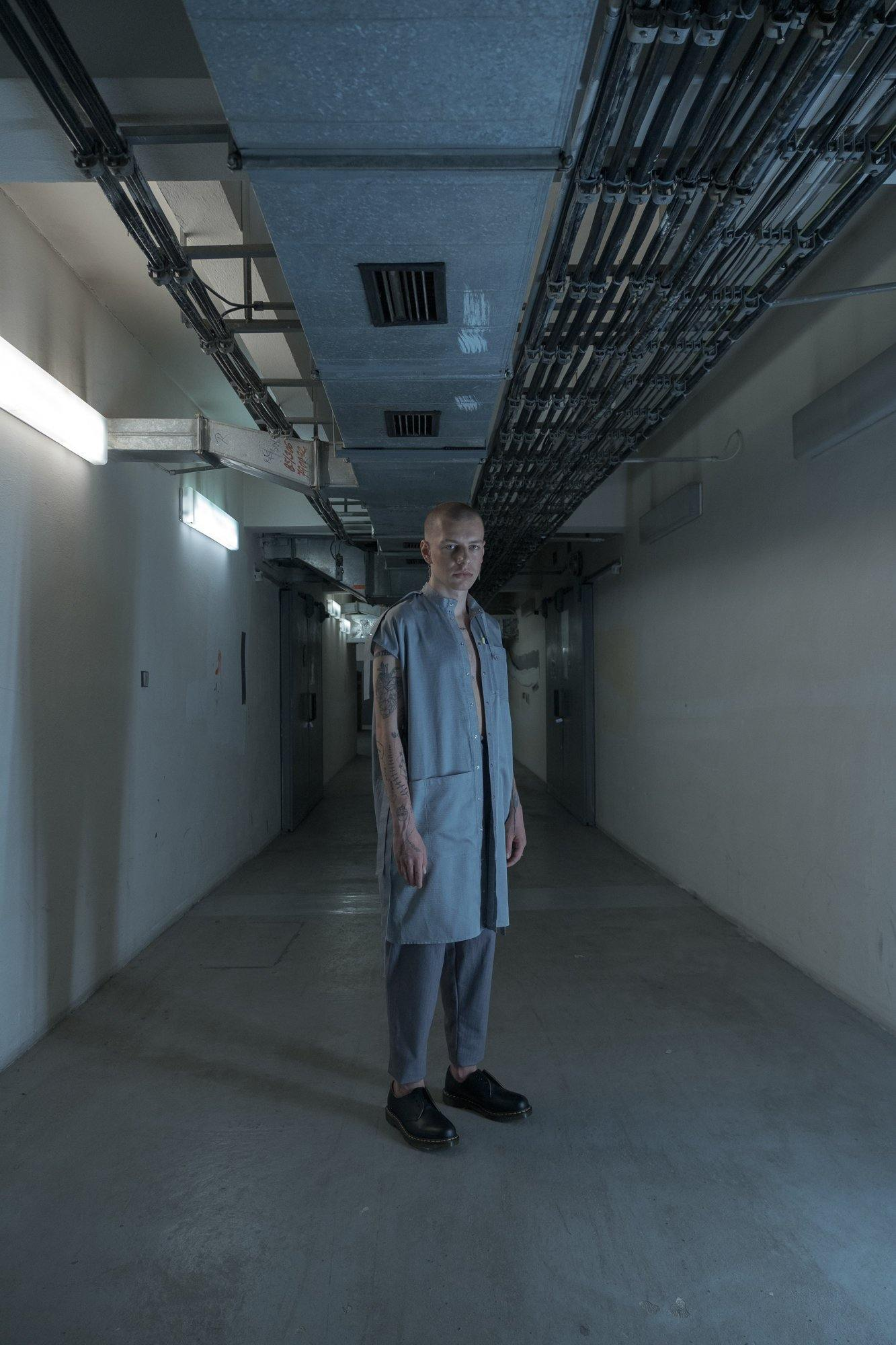 LABORATORY GREY SHIRT DRESS
