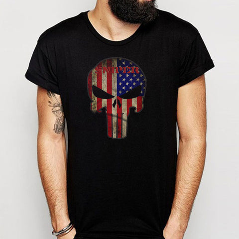 American Sniper  Usa Flag The Punisher Men'S T Shirt