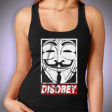 Anonymous V For Vendetta Disobey Obey Guy Fawkes Women'S Tank Top