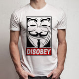 Anonymous V For Vendetta Disobey Obey Guy Fawkes Men'S T Shirt