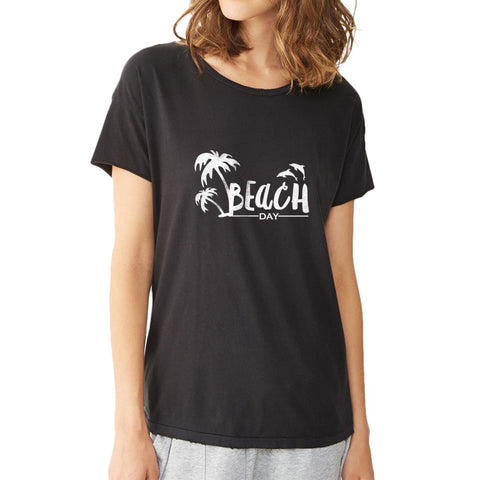 Beach Day Dolphin Palm Tree Women'S T Shirt
