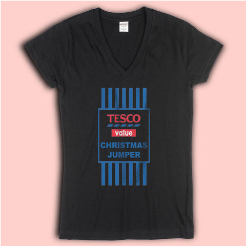 Christmas Jumper  Funny Tesco Value Women'S V Neck