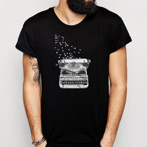 Freedom Of Speech Vintage Typewriter Birds Writer'S Gift Men'S T Shirt