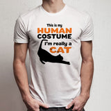 Funny This Is My Human Costume I'M Really A Cat Men'S T Shirt