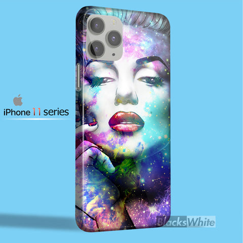 Marilyn monroe face in galaxy nebula   iPhone 11 Case