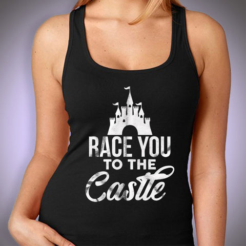 Race You To The Castle Disney Princess Running Hiking Gym Sport Runner Yoga Funny Thanksgiving Christmas Funny Quotes Women'S Tank Top