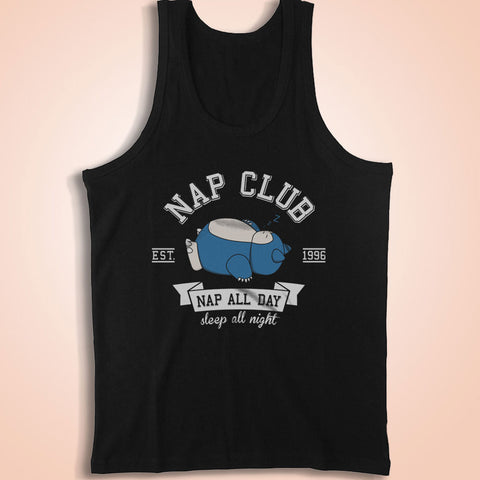Snorlax Nap Club Gotta Catch Em All Ash Misty Team Rocket Men'S Tank Top