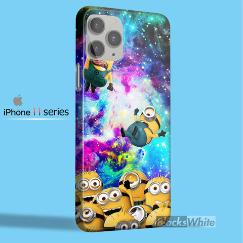minions despicable me in galaxy nebula   iPhone 11 Case