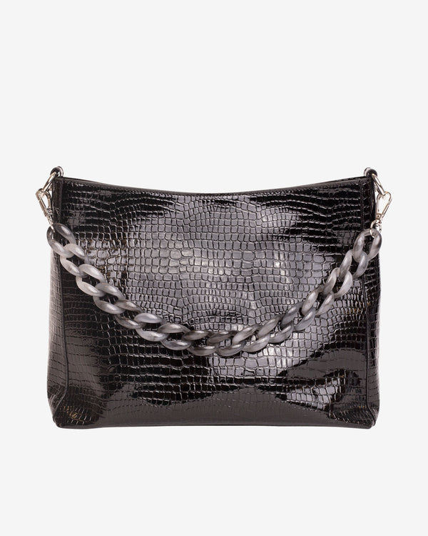 Hvisk AMBLE CROCO Handle Bag 108 Jet Black