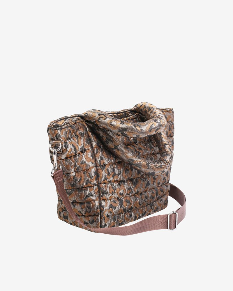 Hvisk VALLEY MEDIUM LEOPARD Handle Bag 113 Silver Brown Multi