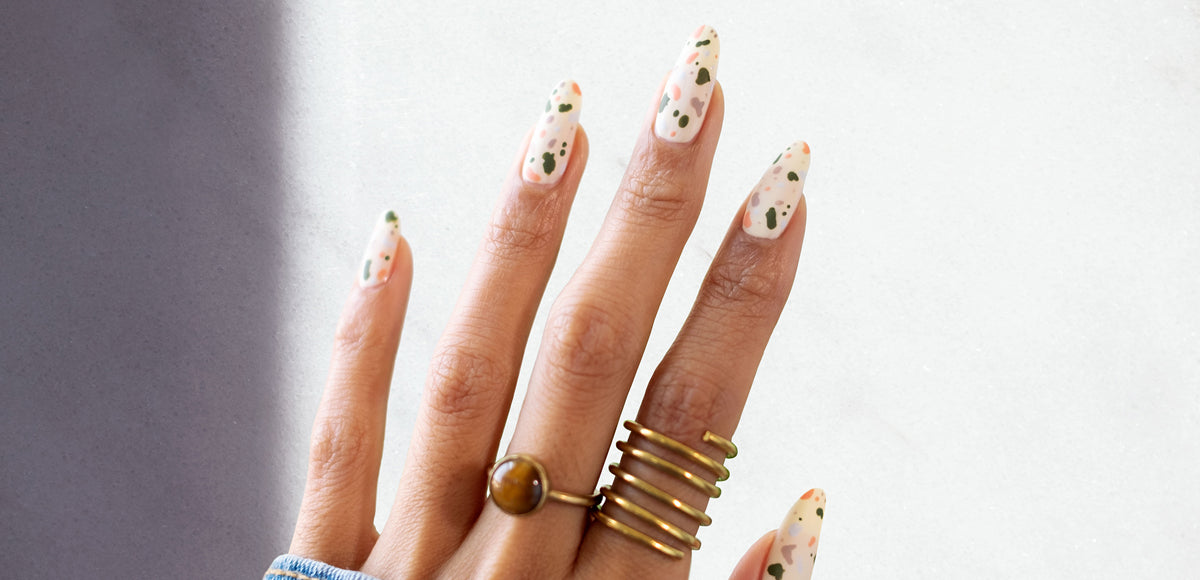 The Overglow Edit nail art tutorial: Terrazzo Nails