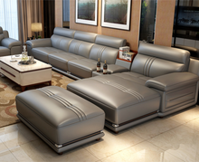 Miza Grey Leather Sofa