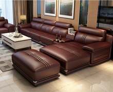 Miza Coffee Leather Sofa