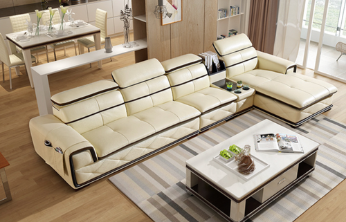 Alfred Cream Leather Sofa