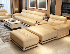 Miza Cream Leather Sofa
