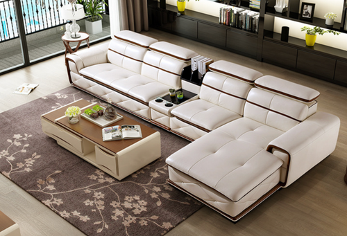 Alfred Cream-White Leather Sofa