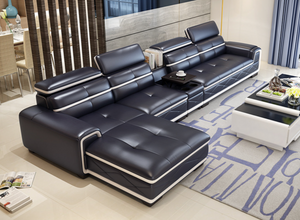 Alfred Dark Blue Leather Sofa