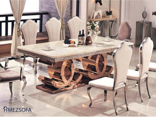 Double-C Marble Dining Table