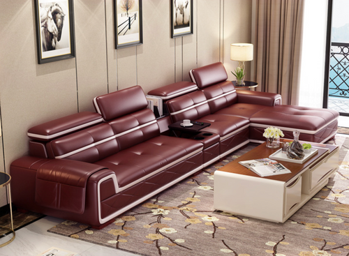 Alfred Maroon Leather Sofa