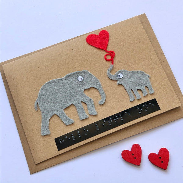 Elephant Braille New Baby card