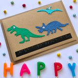 Dinosaur Braille Birthday card