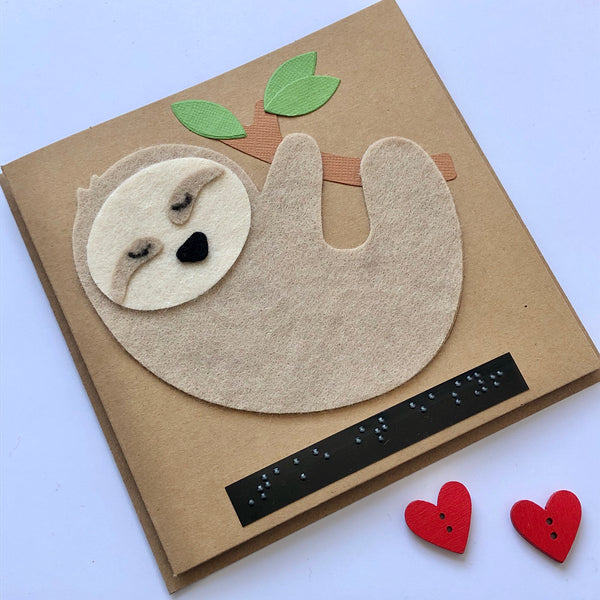Sloth Braille card