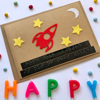Space Braille Birthday card
