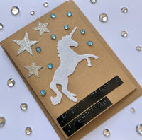 Unicorn Braille Birthday card