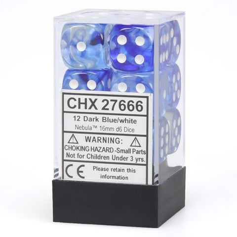 12 Dark Blue/white Nebula 16mm d6 Chessex Dice