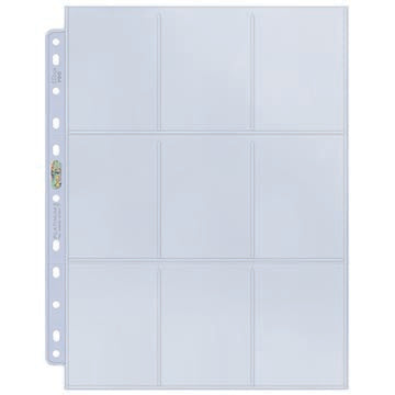 9-Pocket Platinum Page for Standard Size Cards (11-Holes) - Box of 100