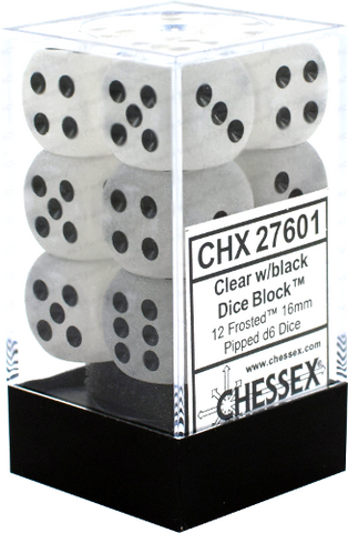 12 Clear w/black Frosted 16mm d6 Chessex Dice