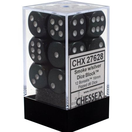 12 Smoke w/silver Borealis 16mm d6 Chessex Dice