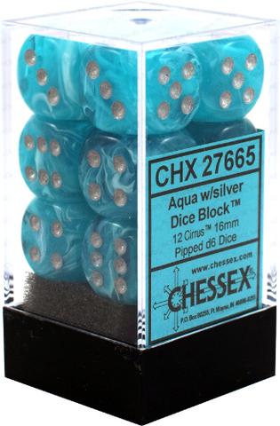 12 Aqua w/silver Cirrus 16mm d6 Chessex Dice