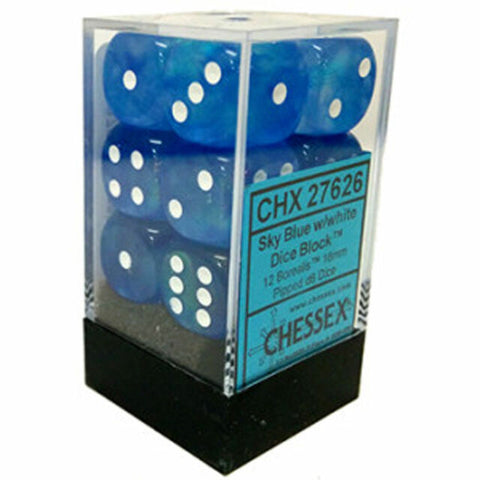12 Sky Blue w/white Borealis 16mm d6 Chessex Dice