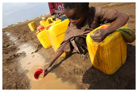 A young child scooping dirty water from a ditch to drink.