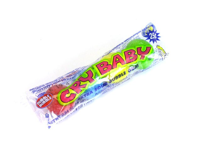 Cry Baby Extra Sour bubble gum - 4-ball tube