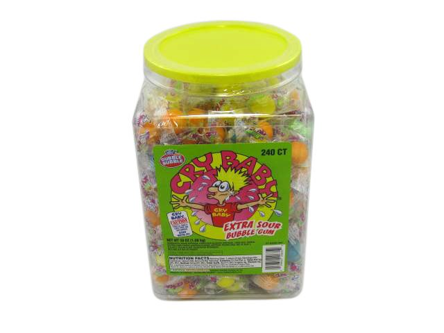 Cry Baby Extra Sour bubble gum - wrapped - plastic tub of 240