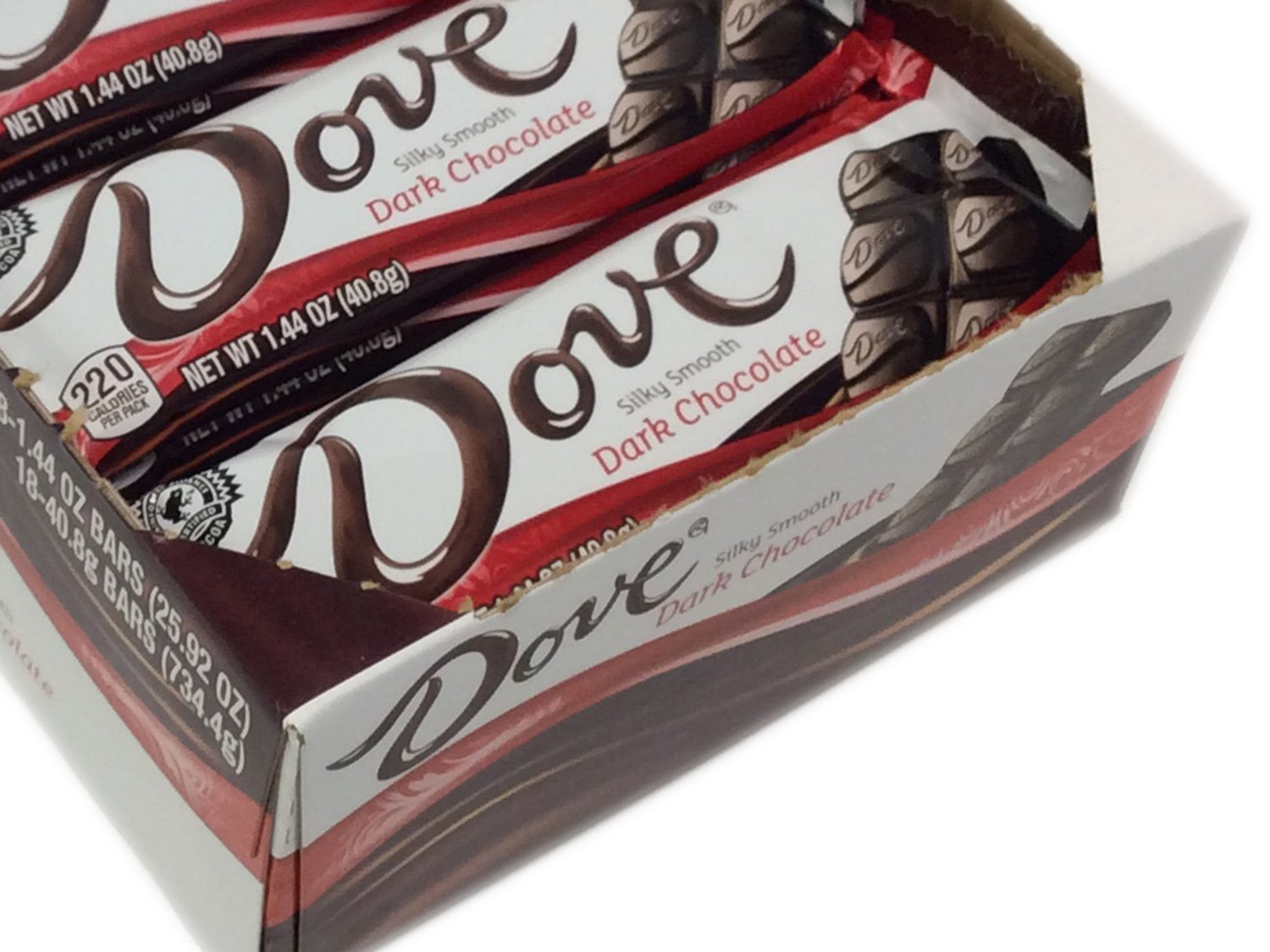 Dove Dark Chocolate 1.44 oz bar - box of 18
