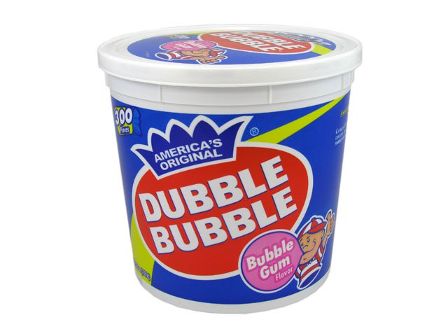 Dubble Bubble Gum - twist wrap (short) tub of 300