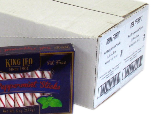 King Leo Soft Peppermint Sticks - 8 oz box - case of 12