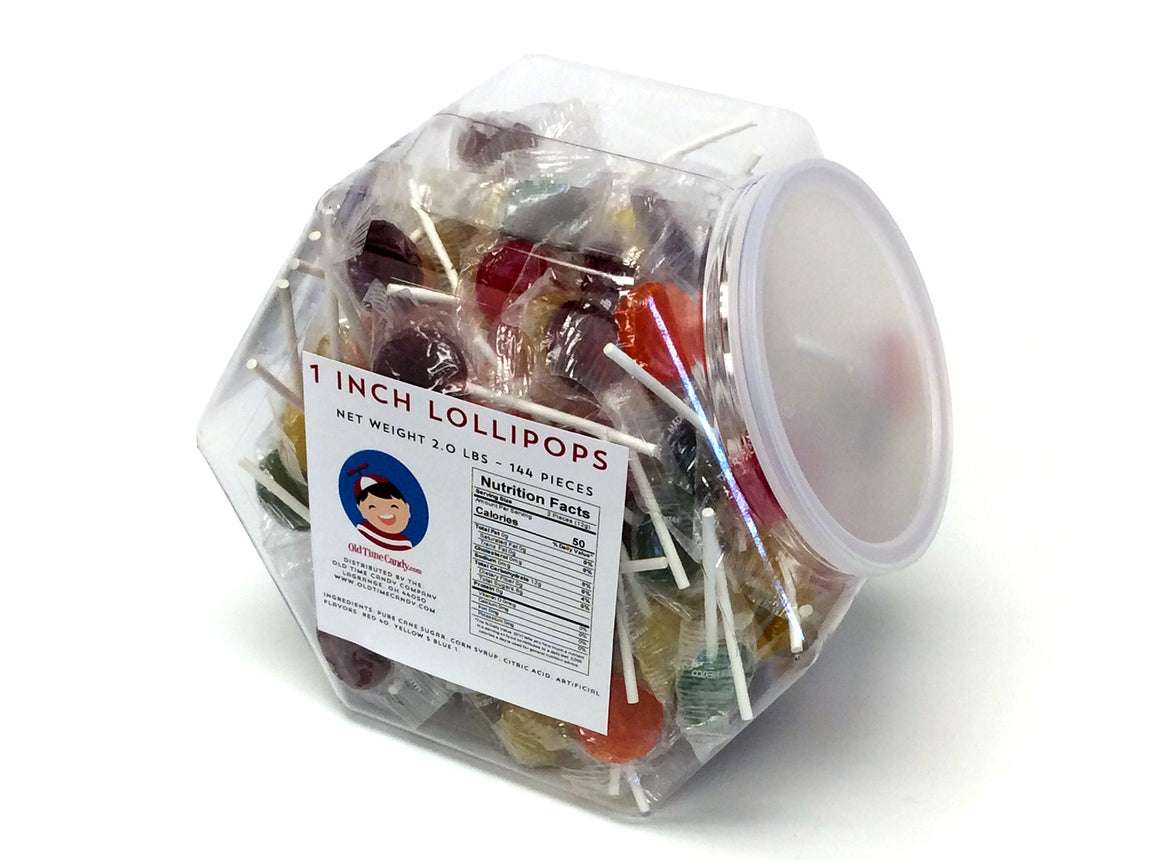 Lollipops - 1 inch - 2 lb Plastic Tub (144 ct)