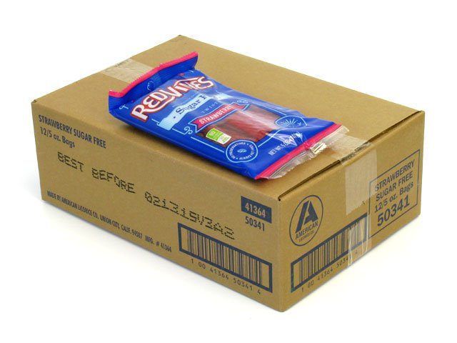 Red Vines Sugar-Free Strawberry Twists - 5 oz bag - box of 12