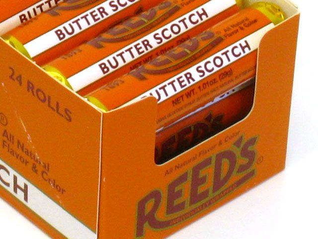Reed S Candy Rolls 1 01 Oz Butterscotch Box Of 24